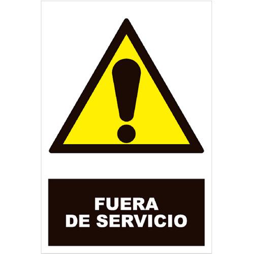 Cartel peligro fuera servicio 25x17cm
