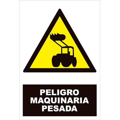 Cartel peligro maquinaria pesada 34x23cm