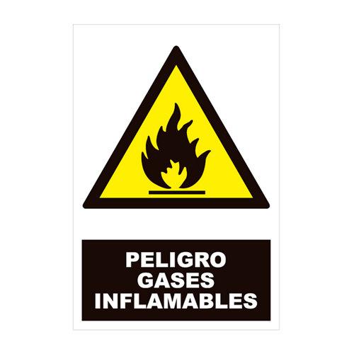 Cartel peligro gases infamable 34x23cm