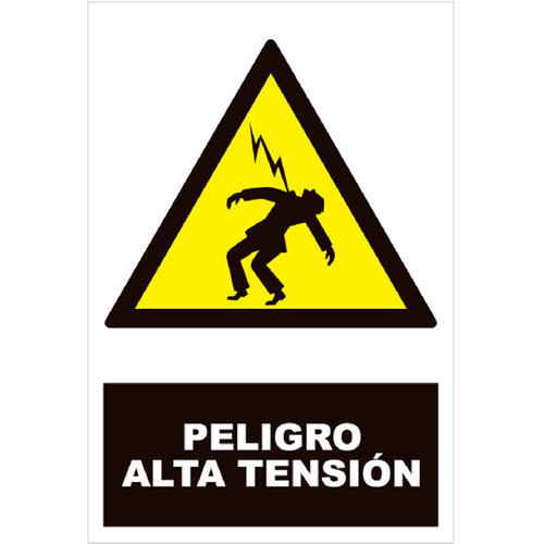 Cartel peligro alta tensión 34x23cm