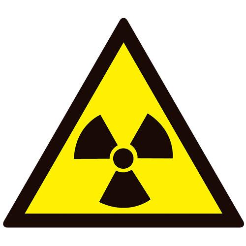 Cartel peligro radiación 23x21cm