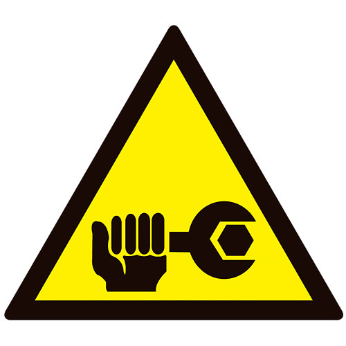 Cartel pvc adhesivo peligro reparación maquinaria 15cm