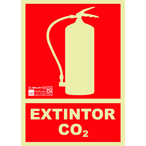 Cartel pvc extintor co2 29x21cm