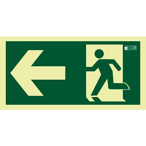 Cartel evacuación salida izquierda 44x22cm