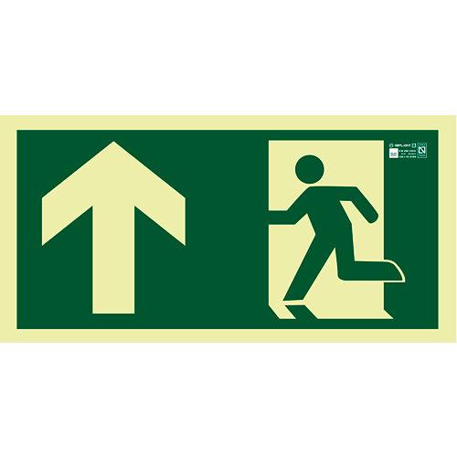 Cartel evacuación salida arriba izquierda 45x22cm