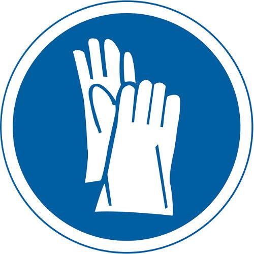 Cartel señalización guantes 23x21cm