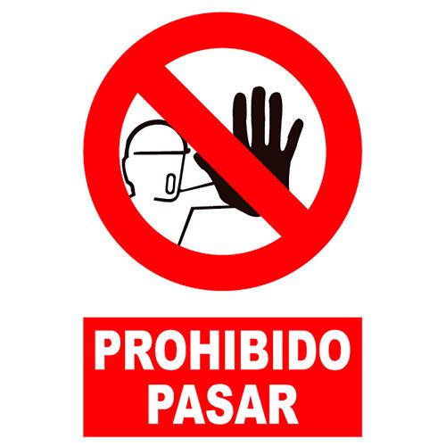 Cartel prohibido pasar 23x34 cm