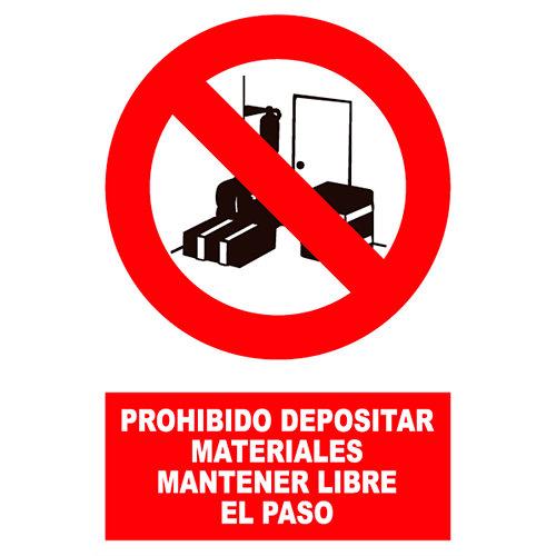 Cartel prohibido depositar material 17x25 cm