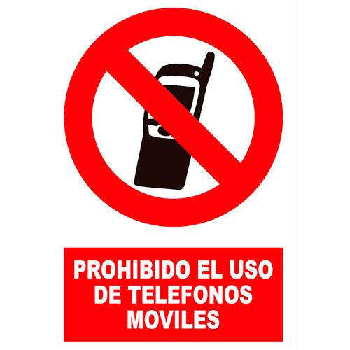Cartel prohibido uso teléfono móvil 23x34 cm