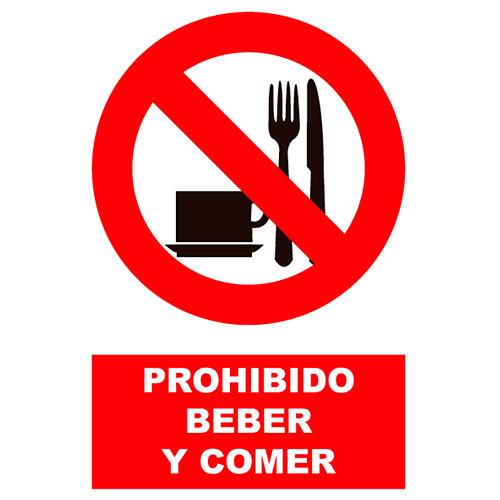 Cartel prohibido comer y beber 23x34 cm