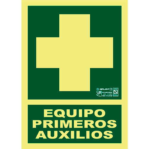 Cartel pvc equipo primeros auxilios 21x29,7 cm