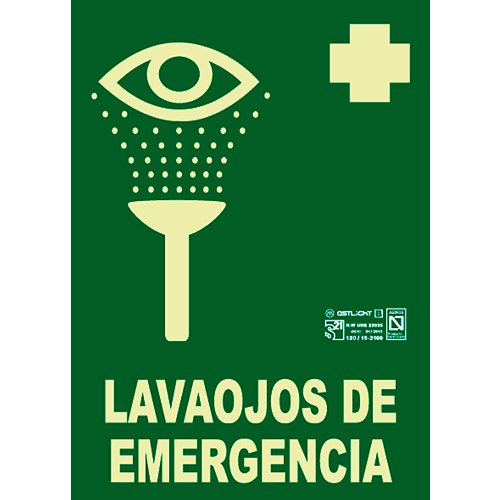 Cartel lavaojos emergencia luminiscente 21x29,7 cm