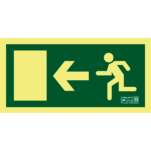 Cartel pvc evacuación direccional derecha 16x32 cm