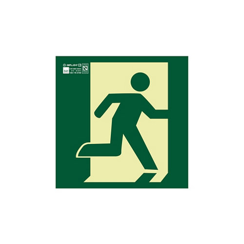 Cartel salida emergencia derecha 22,4x22,4 cm