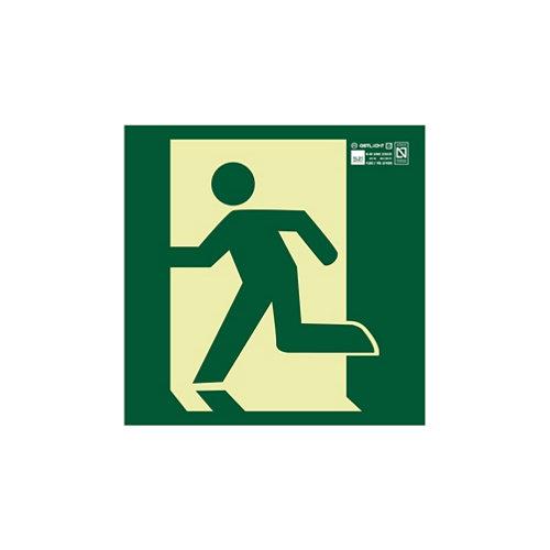 Cartel salida emergencia izquierda 22,4x22,4 cm