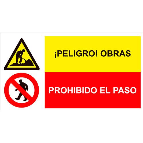 Cartel peligro obra + alto no pasar 23x42,5 cm