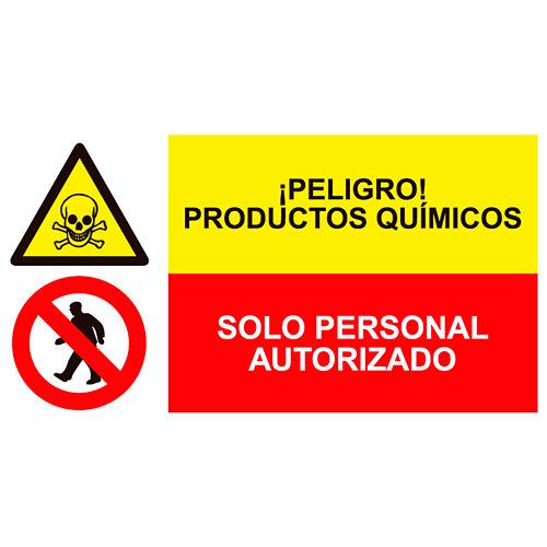 Cartel productos químicos y solo personal autorizado 23 cm