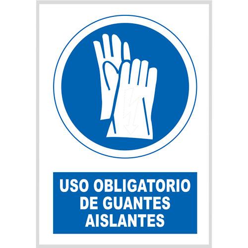 Cartel uso obligatorio guantes 17x25 cm