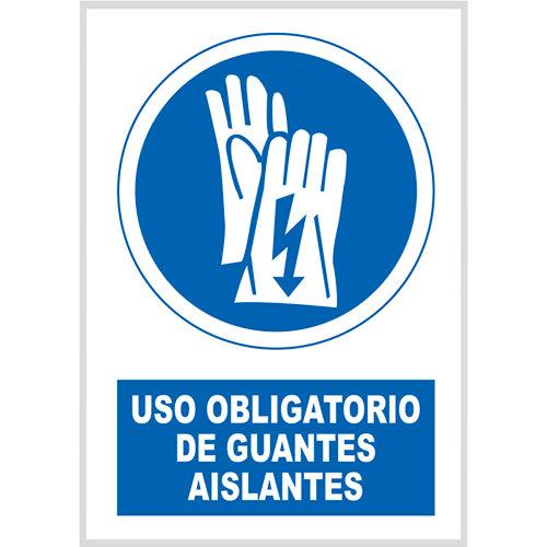 Cartel uso obligatorio guantes aislantes 23x34 cm