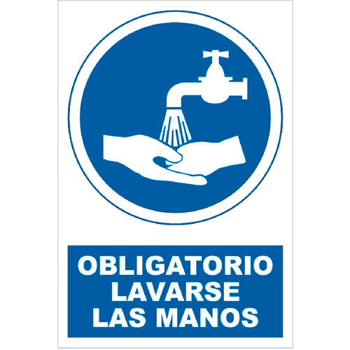 Cartel obligatorio lavar las manos 17x25 cm