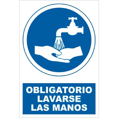 Cartel obligatorio lavar las manos 23x34 cm