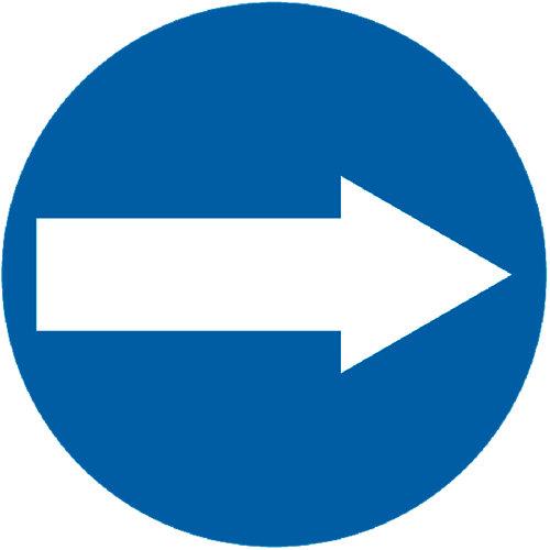 Señal vial sentido obligatoria a la izquierda 60x60 cm