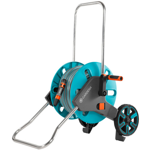 Porta manguera equipada con ruedas gardena de 25m de 15mm de ø