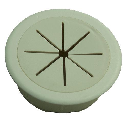Tapa pasa cable de plástico blanca de 2x60 mm