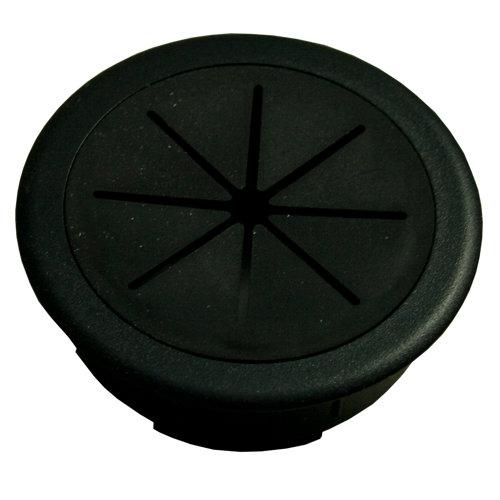Tapa pasa cable de plástico negra de 2x60 mm