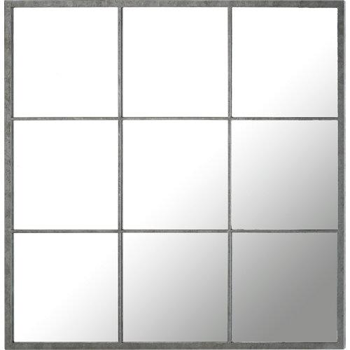 Espejo cuadrada fenetre 9 vues gris 100 x 100 cm