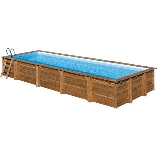 Piscina desmontable rectangular gre 10,13x4,18x1,45 m liso marrón