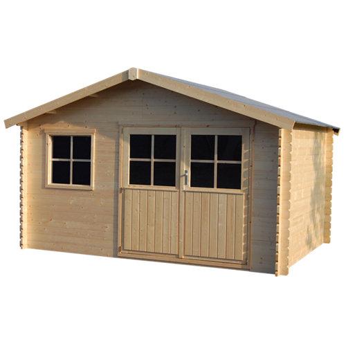Caseta de madera tana de 412x244x313 cm y 12.9 m2