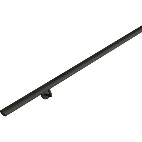 Kit pasamanos de aluminio en color negro mate ovalada de 2m soportes incluidos