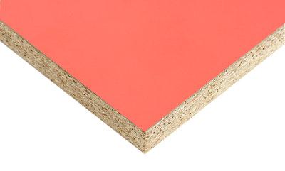 Tablero aglomerado de melamina coral 122x244x1 cm (anchoxaltoxgrosor)