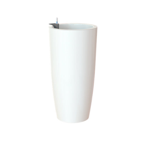 Maceta redonda alta auto-riego santorini blanco 33x33x65cm