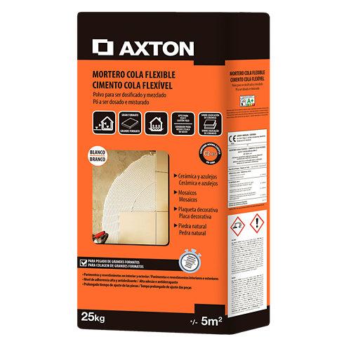 Mortero cola flexible axton blanco 25 kg