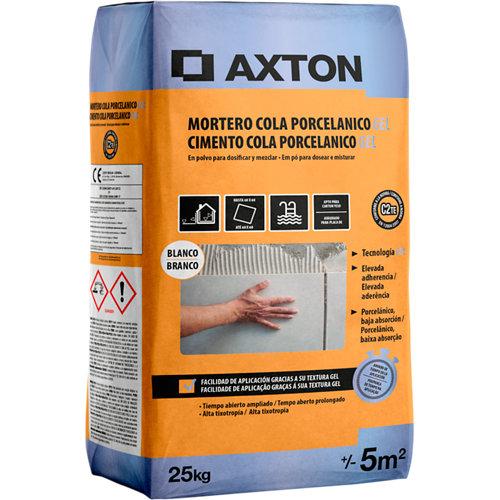 Mortero cola porcelánico gel axton blanco 25 kg