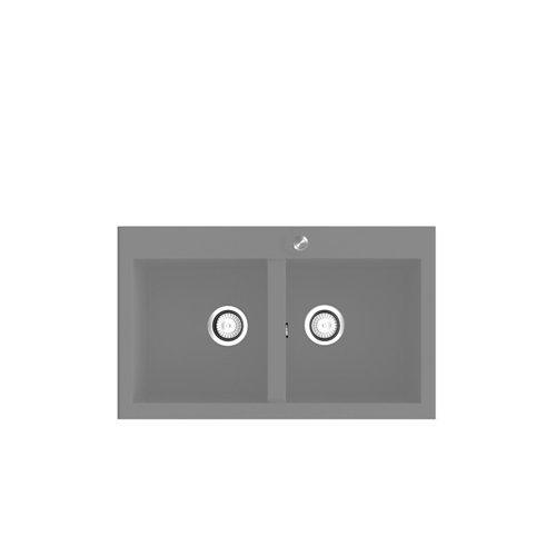 Fregadero 2 senos de resina rectangular poalgi shira 506 80x52cm