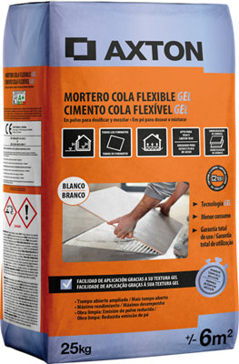 MORTERO COLA FLEXIBLE GEL BLANCO 25KG AXTON