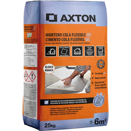 Mortero cola flexible gel color blanco 25 kgs. axton