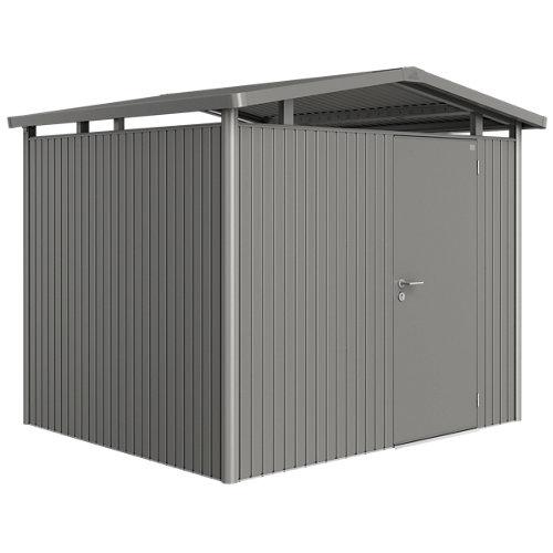 Caseta de metal panorama gris de 273x227x238 cm y 6.49 m2