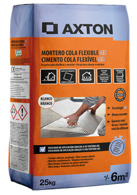 Mortero cola AXTON flexible gel blanco 25 Kg
