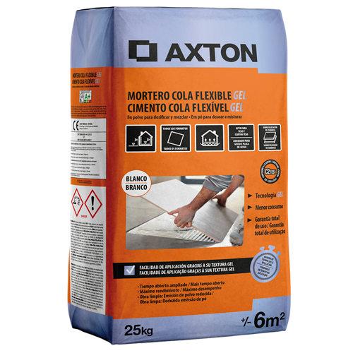 Mortero cola axton flexible gel blanco 25 kg