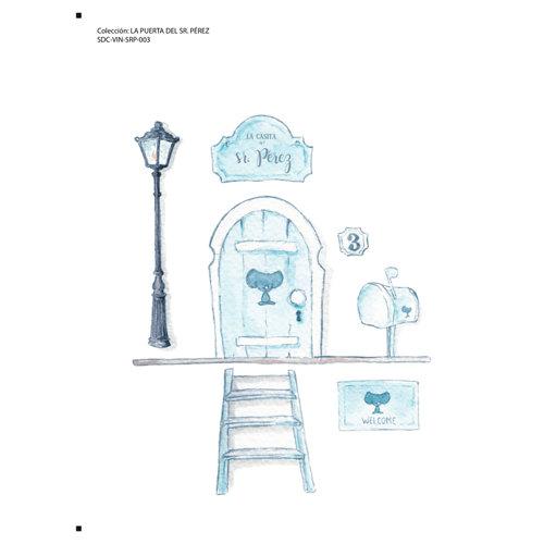 Adhesivo mural infantil puerta del sr. pérez azul