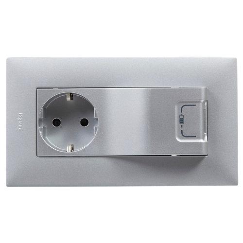 Enchufe + toma de usb legrand niloé step aluminio