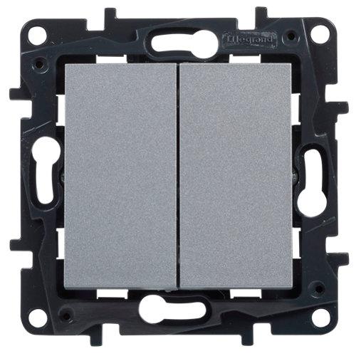 Interruptor doble legrand niloé step aluminio