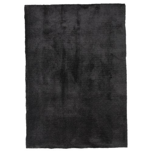 Alfombra negra poliéster shanghai antracita 160 x 230cm