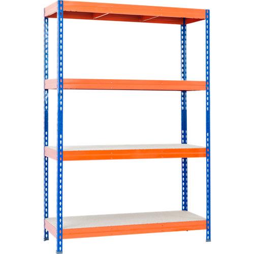 Estantería metálica 176x150x45cm azul naranja 4 baldas 375kg