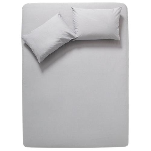 Sábana bajera algodón gris / plata para cama 135 / 140 cm