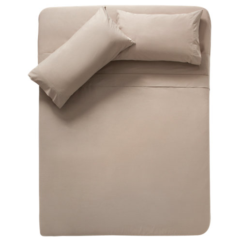 Sábana encimera algodón beige para cama 135 / 140 cm